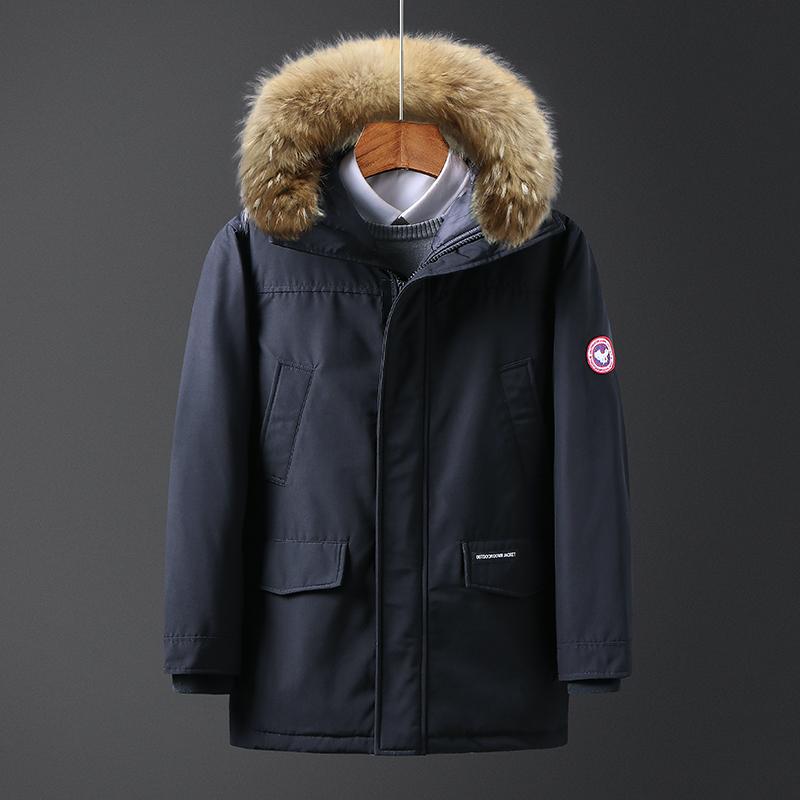 热锋2018冬季新款真貉子毛领男士羽绒服短款工装外套加厚防寒男装
