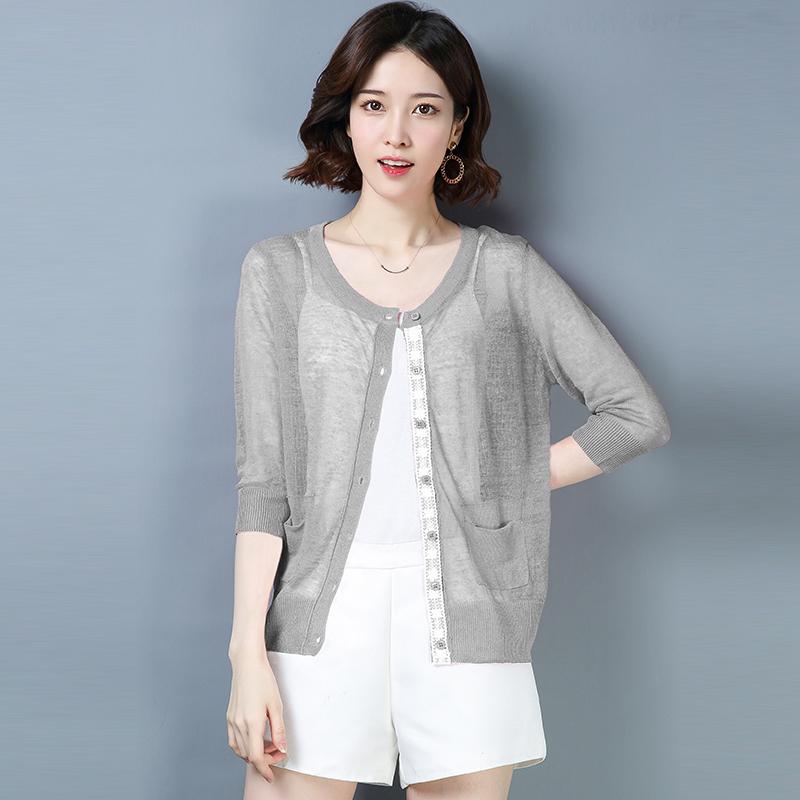 防晒针织亚麻开衫女2020夏季短款空调衫大码胖MM外搭披肩外套薄款