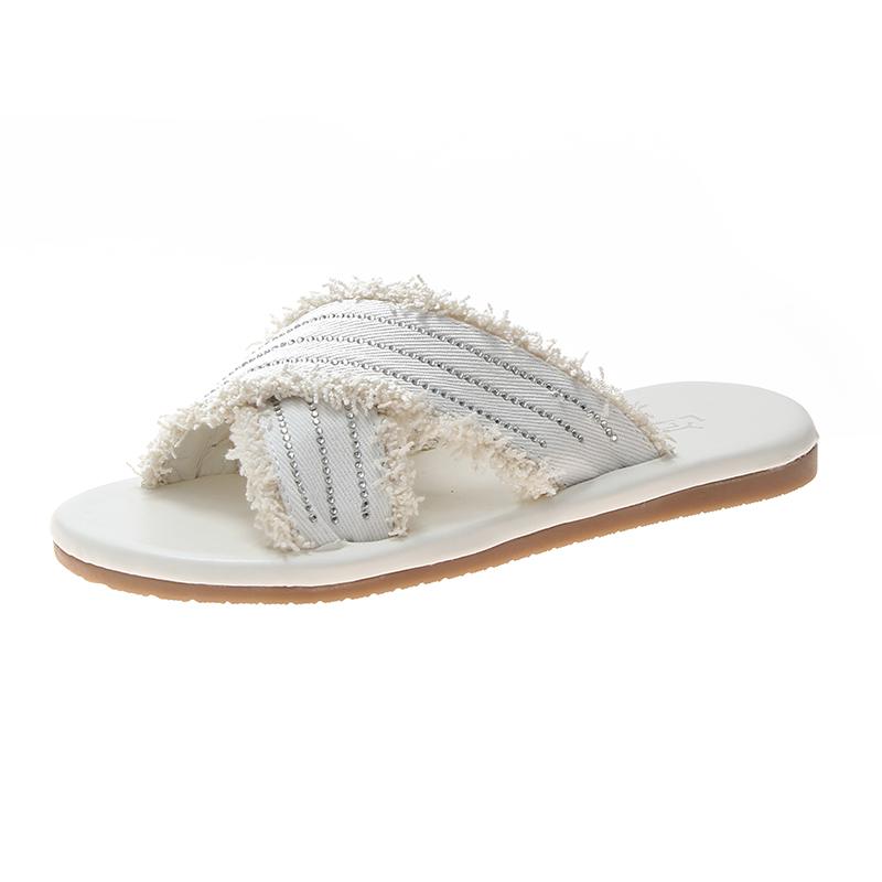2019夏季新款韩版布面交叉带复古一字露趾百搭拖鞋街穿水钻沙滩鞋
