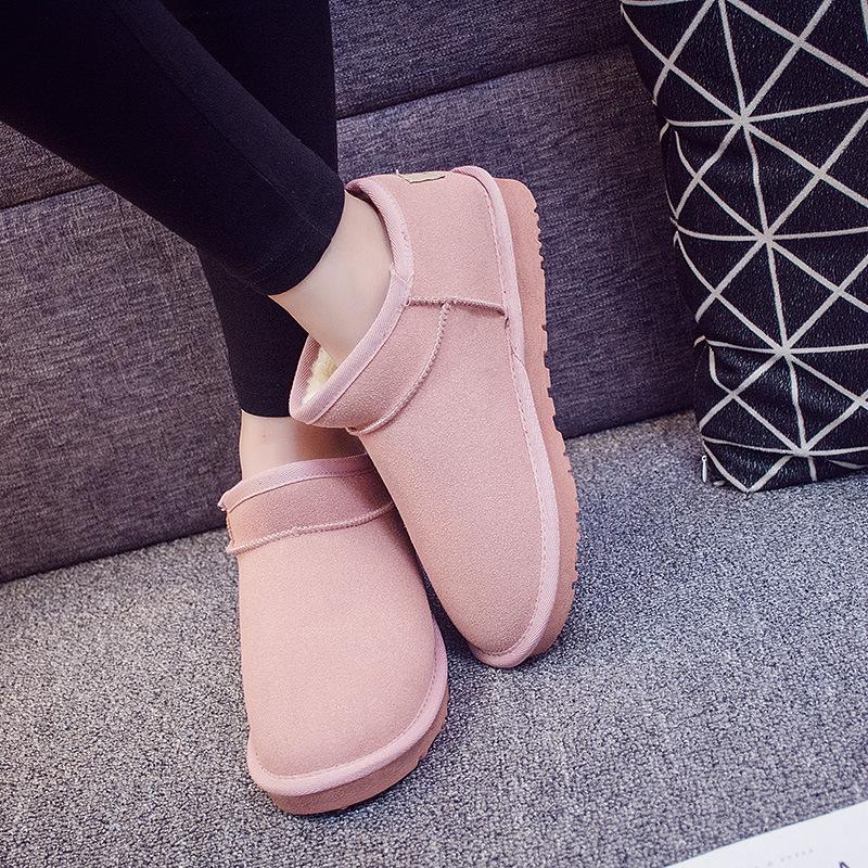 aa50女冬季新款2018百搭韩女鞋加绒雪地靴学生百搭短靴冬季棉鞋
