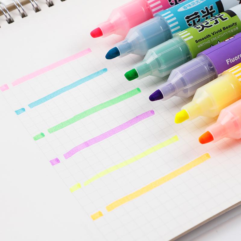 6支晨光文具MF5301米菲香味荧光笔办公学生手账涂鸦用品彩色笔粗笔斜头糖果色划重点标记号笔套装