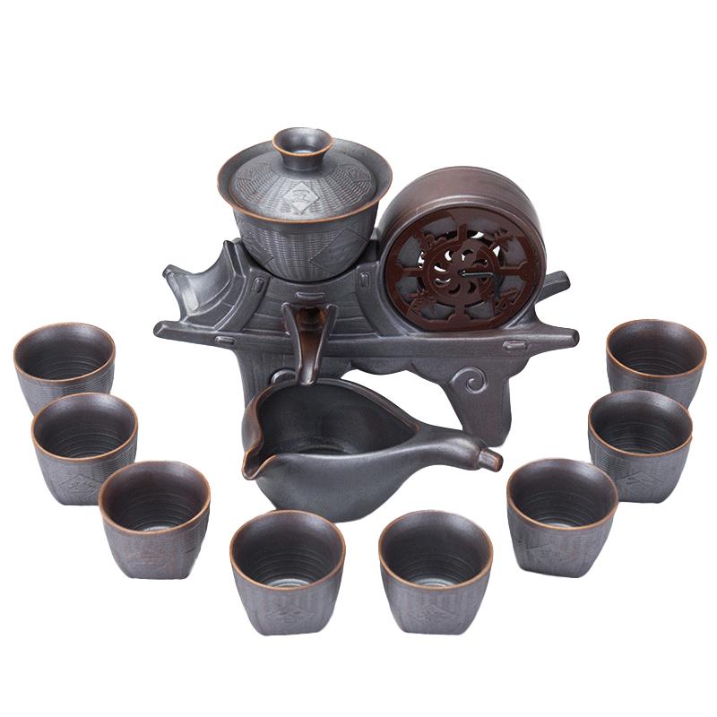 懒人茶具套装泡茶壶家用功夫茶杯石磨半自动现代简约办公室陶瓷器