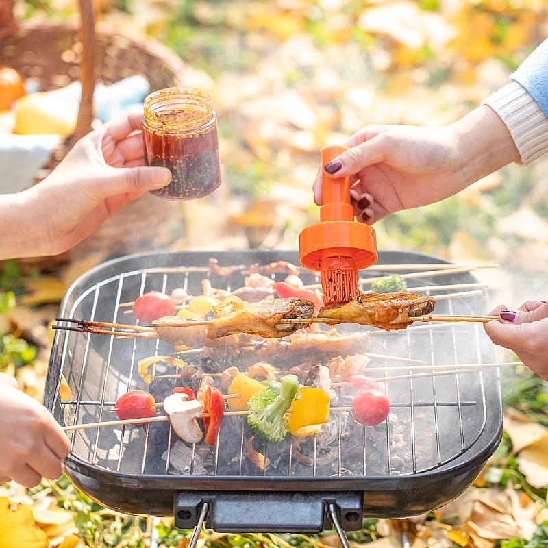 国标食品级检测 硅胶烧烤油刷子抹油油刷按压式耐高温户外料理刷