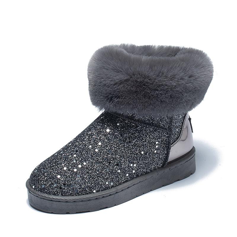 冬季网红加厚雪地靴女毛毛百搭亮片短筒加绒防滑中筒保暖平底棉鞋