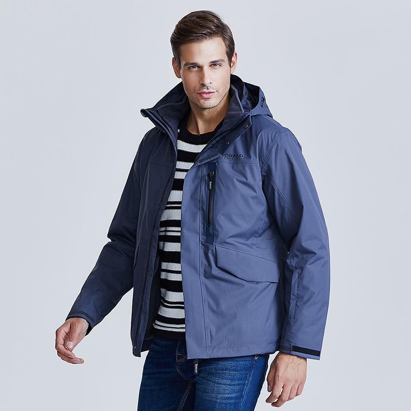 探路者冲锋衣 18冬季加厚防风衣男三合一冲锋衣TAWG91716