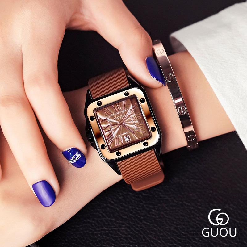 古欧新款石英手表女方形潮流防水霸气带日历学生法国小众运动腕表