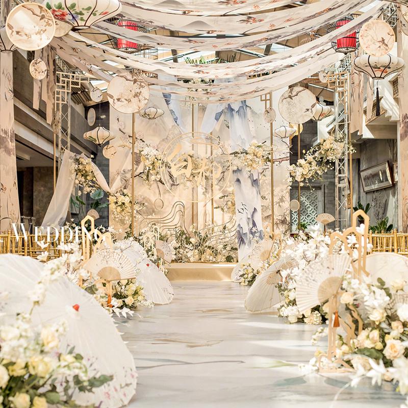 新中式婚礼道具卷轴挂画古典飘顶水墨画卷轴悬挂吊顶江南山水古风