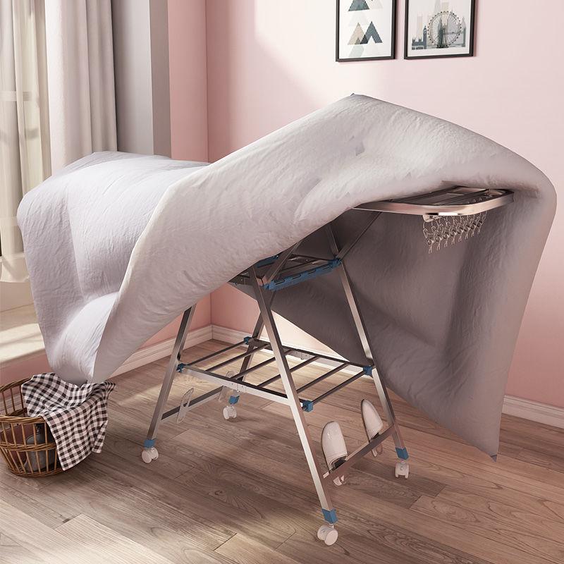 不锈钢晾衣架儿童晒衣架家用阳台用室内卧室折叠置地晾衣杆不锈钢