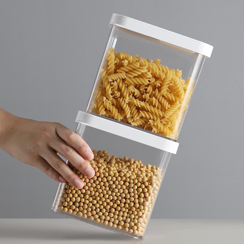易扣食品密封罐塑料收纳盒五谷杂粮储物罐家用食品密封罐防潮透明