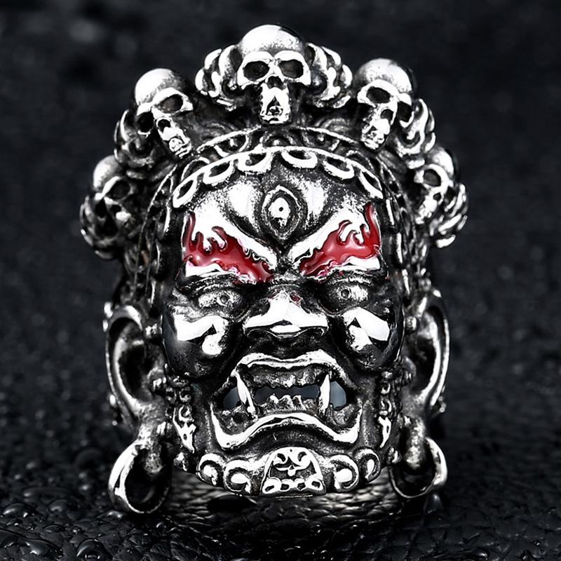 大黑天财神男士戒指复古潮男个性霸气钛钢骷髅戒指男日韩单身潮人