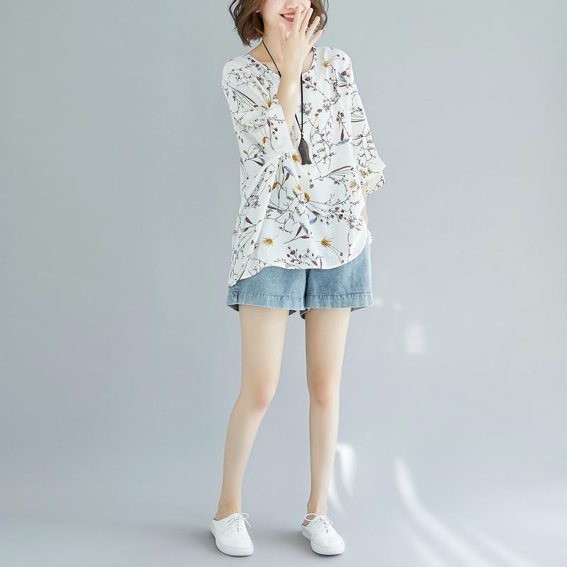 夏新款装200斤韩版上衣宽松加肥大码女装显瘦碎花蝙蝠袖雪纺衫潮