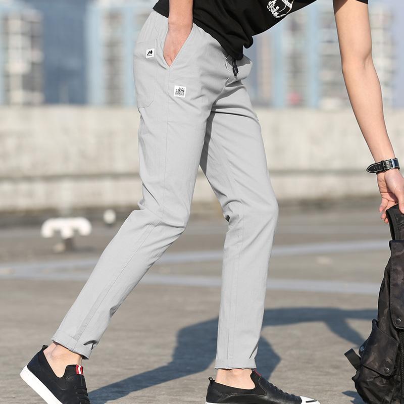 2019夏季新款男士休闲运动裤超薄款宽松韩版弹力修身小脚运动裤