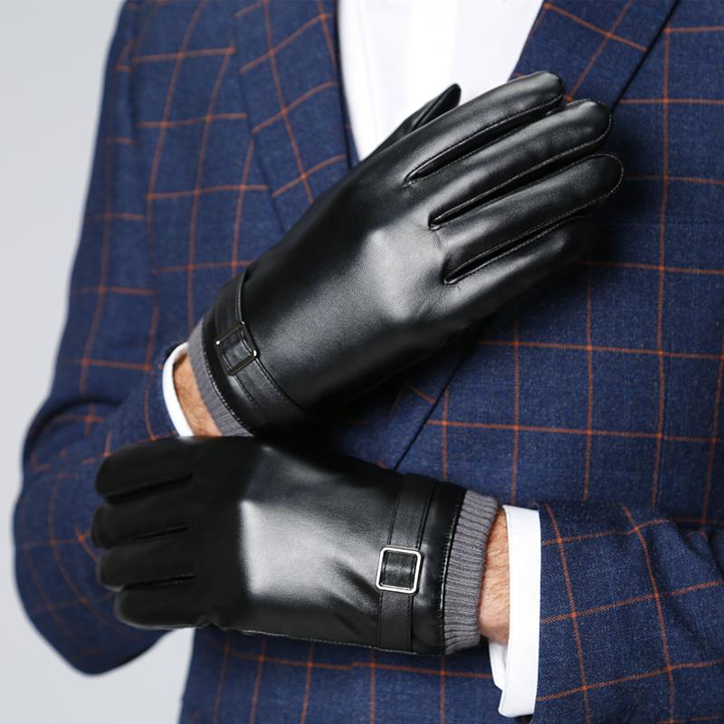 皮手套男士秋冬季保暖加绒骑行开车防风防寒薄款触屏摩托车加厚棉