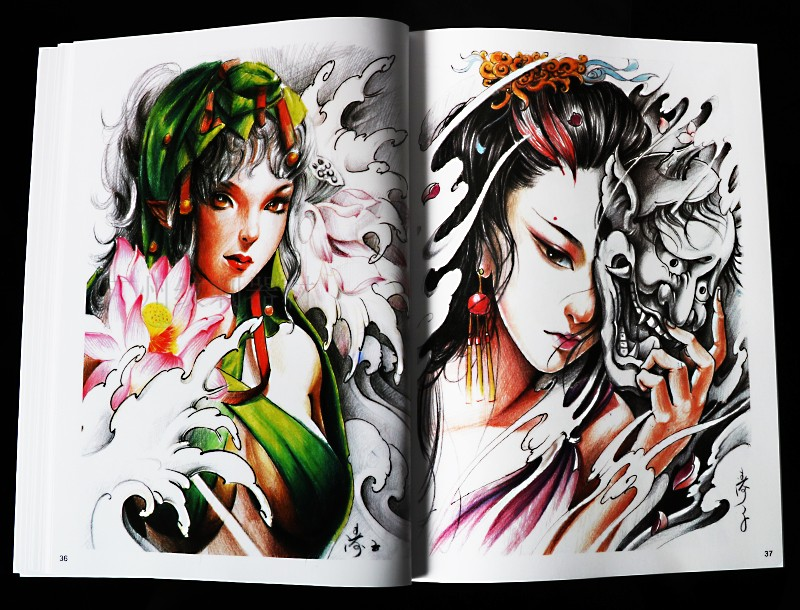 2018廊坊新图涛子纹身手稿 艺伎 花旦佛菩提书籍画册图片