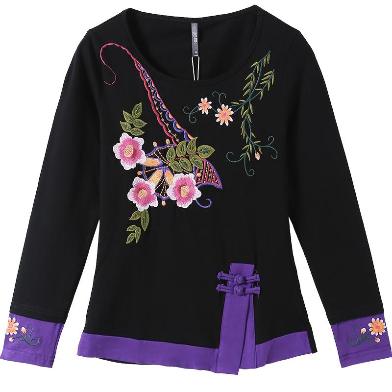 云南民族风刺绣女装秋冬复古长袖上衣大码显瘦中国风打底衫T恤女