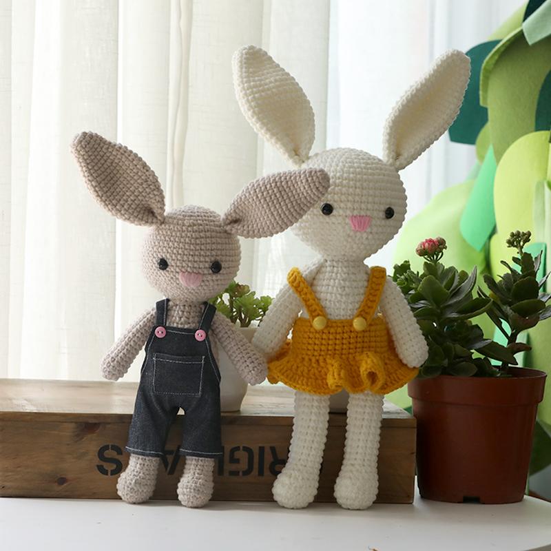 毛线钩织情侣兔子网红长耳兔 手工DIY钩针编织材料包孕期宝妈手作
