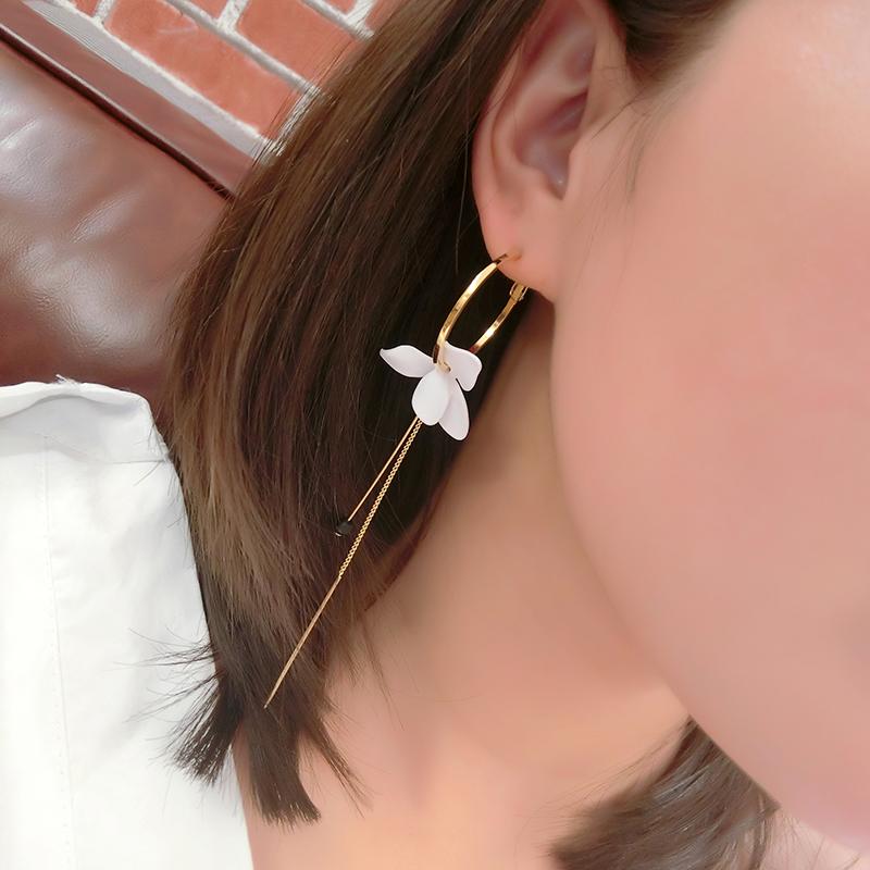 925纯银针ab版不对称耳坠花朵耳环韩国 气质 长款 吊坠大圆圈超仙