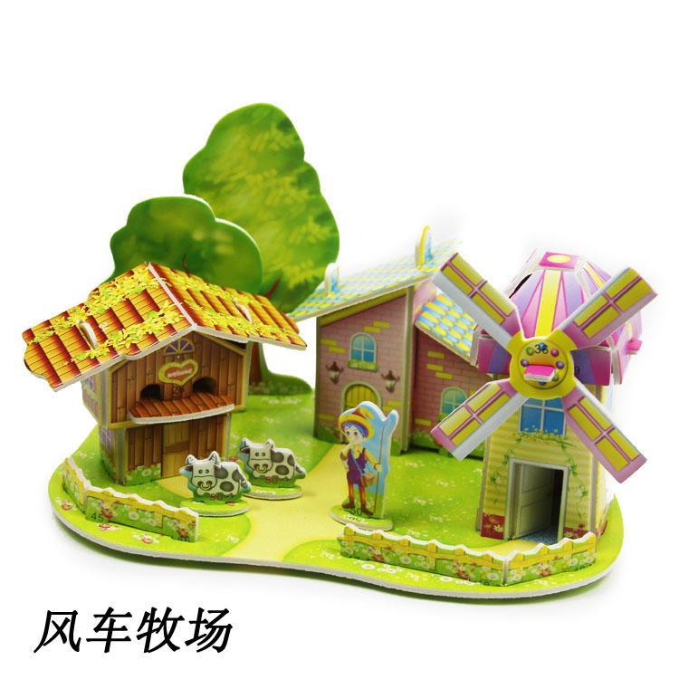 3d房子拼图立体模型别墅别墅手工温泉v房子女儿童纸质设计图片