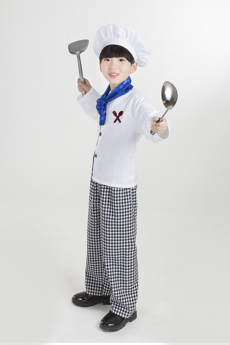 儿童厨师服幼儿厨师演出服小孩游戏职业服装表演少儿小厨师服图片