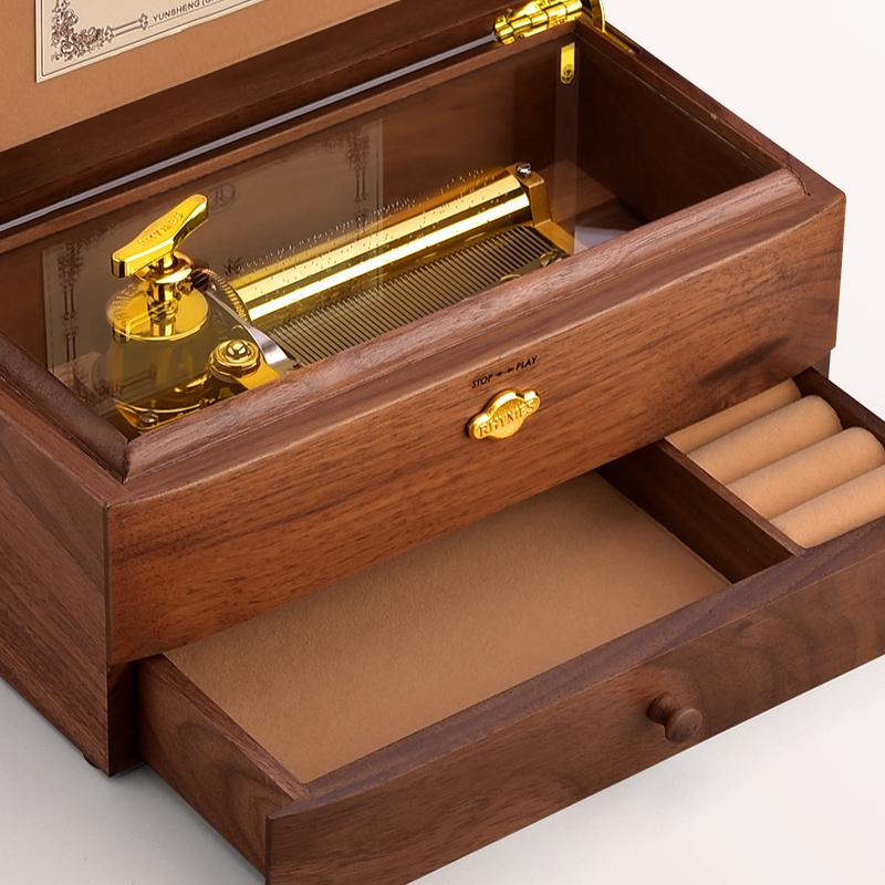 木质音乐盒八音盒首饰盒创意生日礼物女生定制曲目送女友天空之城