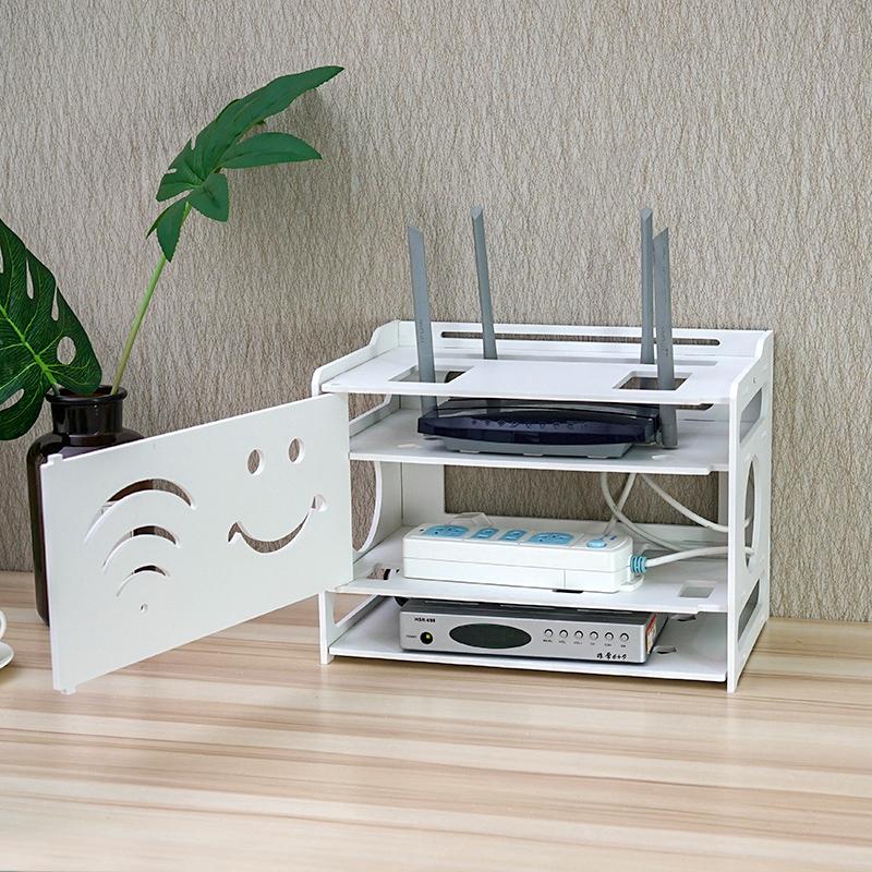 无线路由器收纳盒机顶盒置物架电源线理线WIFI收纳盒墙上免打孔