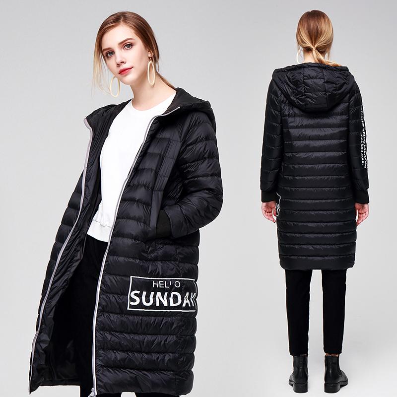暖频道2018新款韩版轻薄羽绒服女中长款连帽外套白鸭绒时尚羽绒服