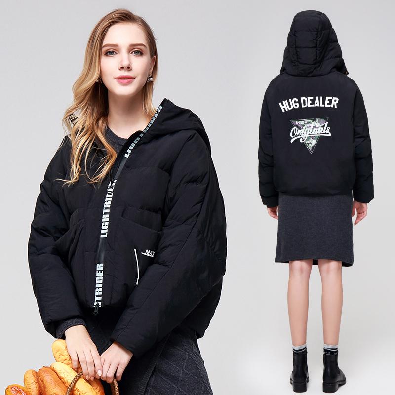 暖频道2018新款薄款羽绒服女短款连帽时尚韩版宽松廓版短款羽绒服