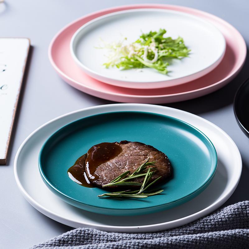 创意网红西餐盘子北欧菜盘家用甜品碟子陶瓷餐具沙拉牛排盘ins风