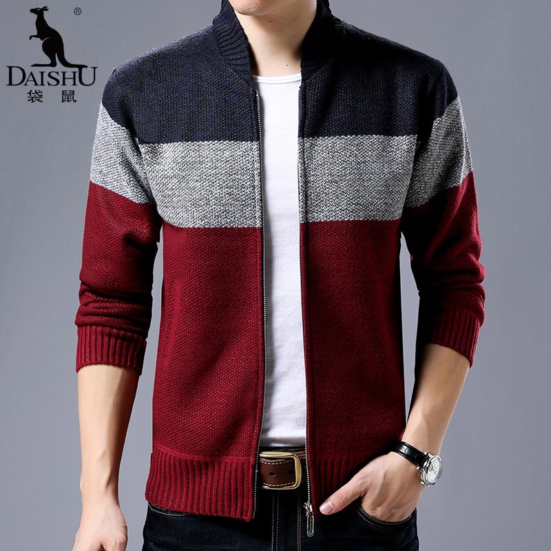 袋鼠 男装新款 男士男装棒球领针织开衫 韩版毛衣男外套 加绒加厚