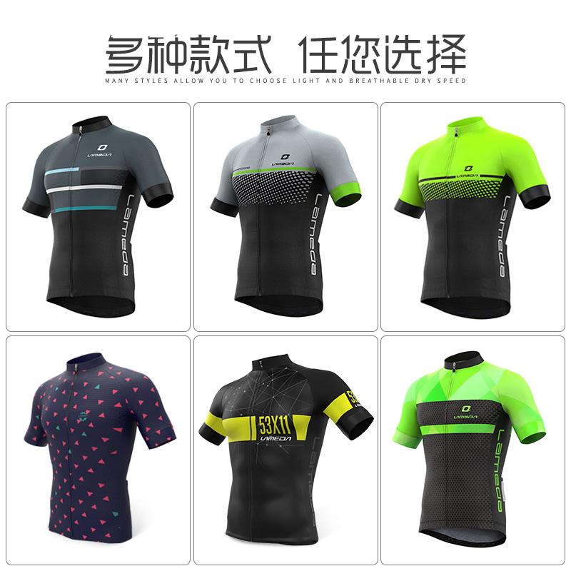 兰帕达 夏季骑行服套装公路山地车自行车短袖透气速干上衣男服装