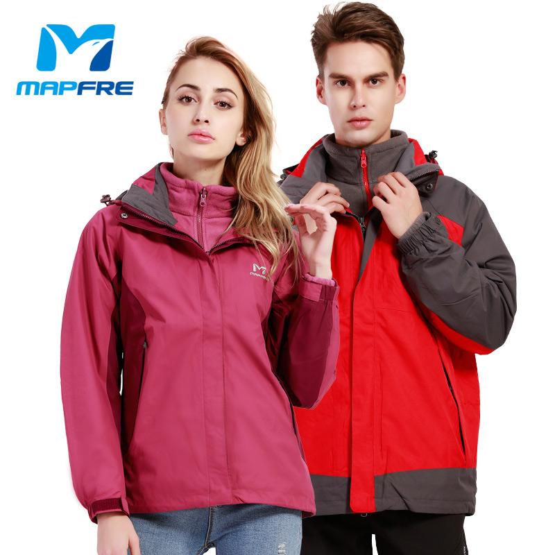 MAPFRE情侣款户外三合一两件套绒冲锋衣秋冬款防风防雨透气防寒服