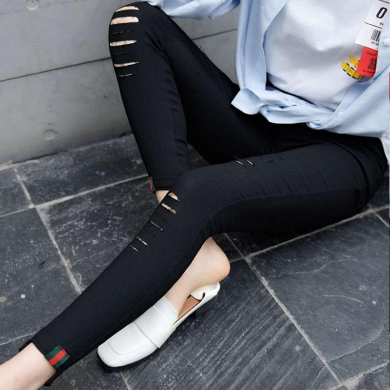 2018新款女装春装打底裤外穿黑色高腰纯色女小脚铅笔九分裤休闲裤