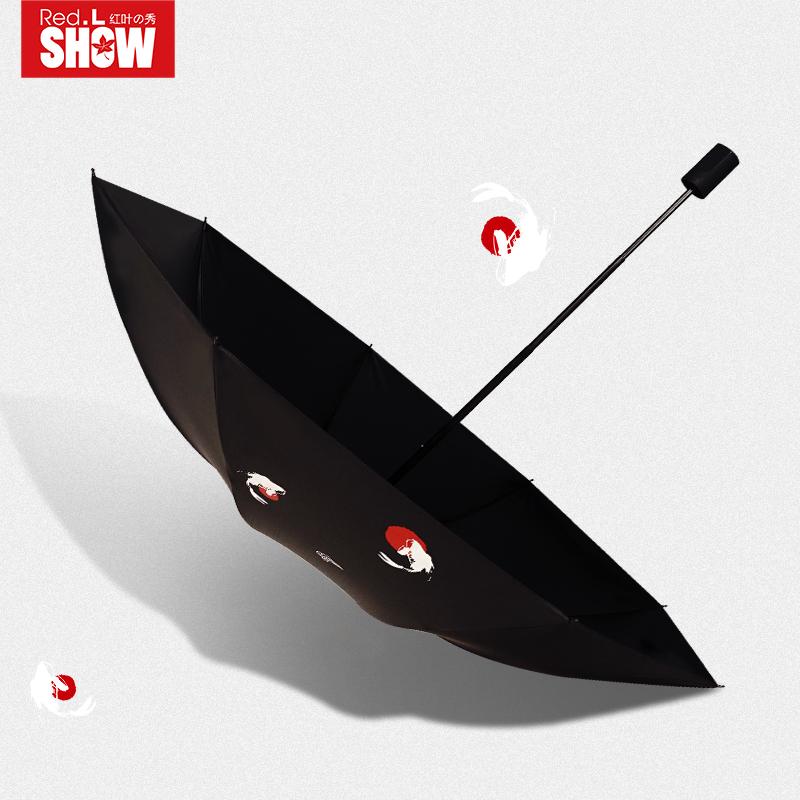 红叶原宿雨伞男女个性创意潮流韩国创意复古简约大号晴雨两用