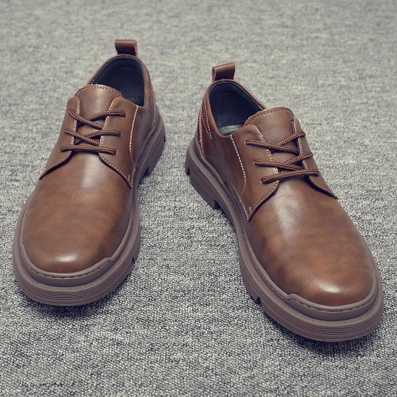 工装鞋男冬季加绒低帮马丁鞋子真皮英伦潮靴百搭耐磨大头休闲皮鞋