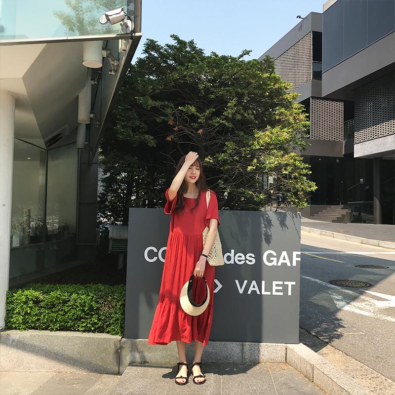 自制显瘦文艺chic中长款短袖棉麻宽松港味方领复古红色连衣裙女夏
