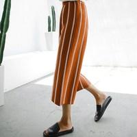 2016新款秋装韩国高腰七分条纹喇叭裤女 学生弹力针织裤子女装