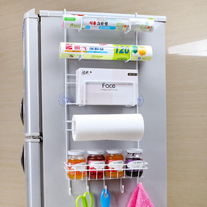 碧嘉嘉 吸盘冰箱挂架 厨房创意保鲜袋卷纸冰箱侧壁挂式收纳置物架