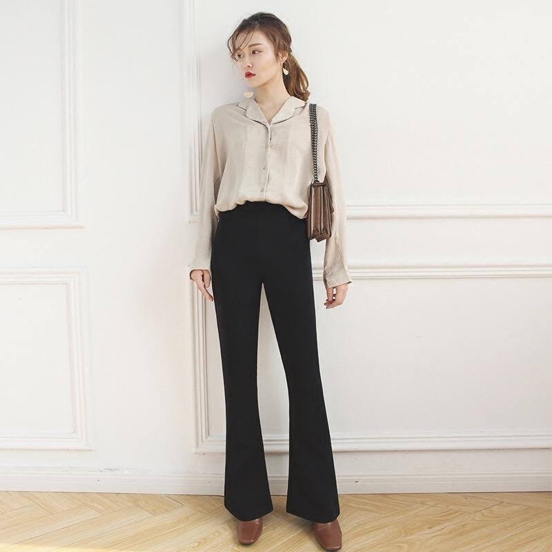 喇叭裤夏装2019新款裤子黑色复古高腰垂感长裤显瘦微喇裤修身西裤