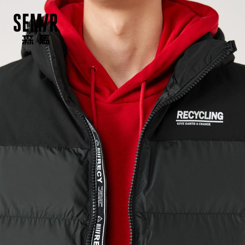 森马马甲男2020冬季新款背心棉服保暖休闲上衣男装时尚黑色外套潮