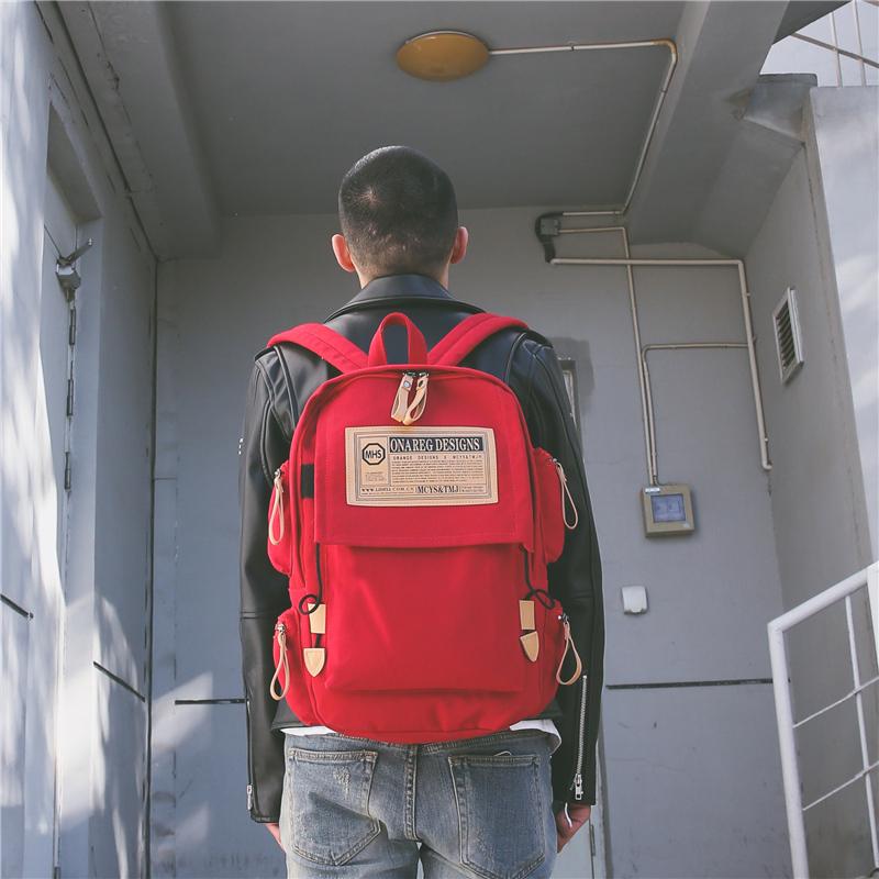 帆布韩版双肩包男ins背包潮校园大学生书包女bf休闲大容量旅行包
