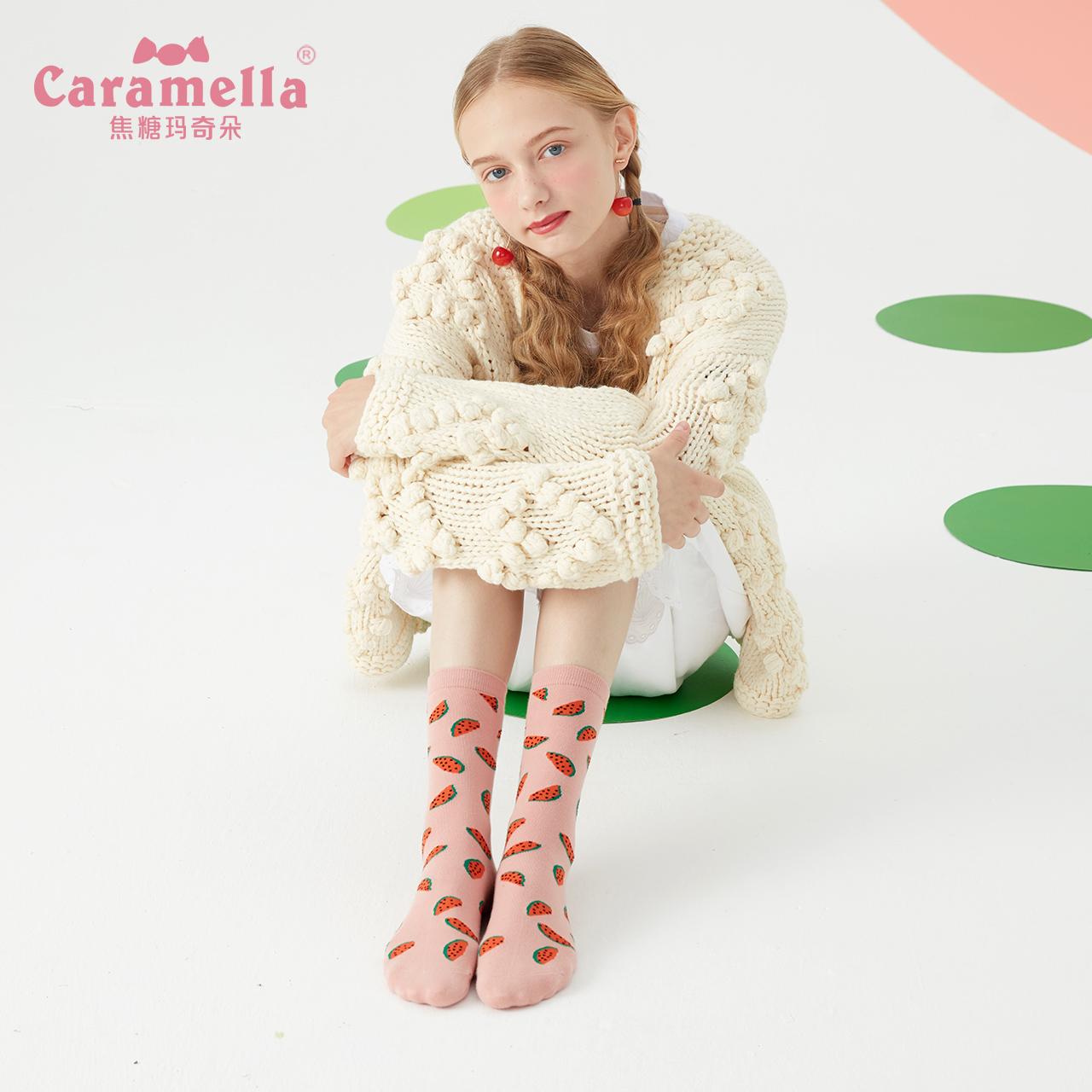 caramella袜子女士中筒袜长袜街头ins潮秋冬季棉袜水果韩版ulzza