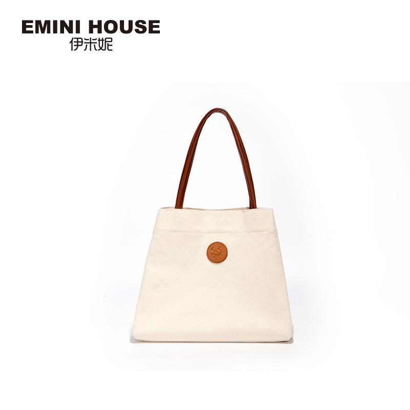 伊米妮女包2019新款帆布包包女时尚简约大容量购物袋手提单肩包女