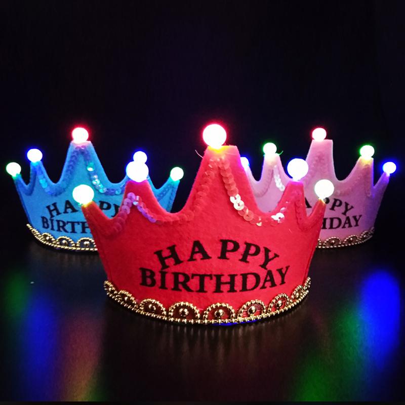 发光生日帽子儿童闪灯皇冠帽成人帽女蛋糕头冠周岁派对装饰装扮帽