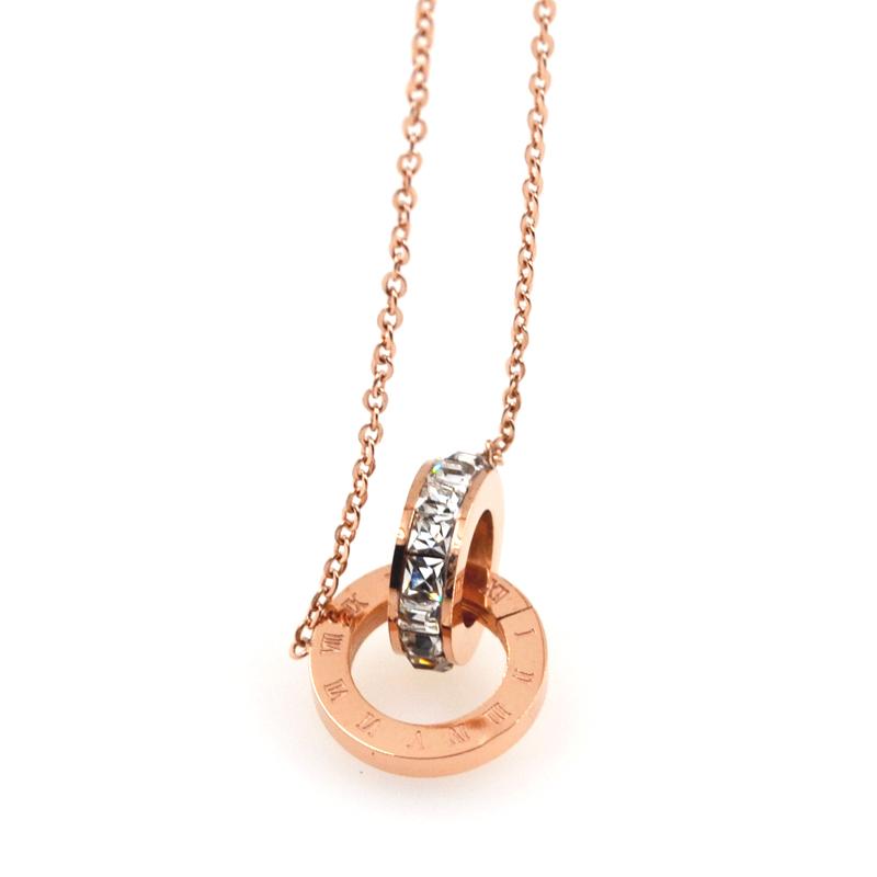 韩版镀玫瑰金罗马数字双环项链女简约锁骨链钛钢时尚学生饰品套装