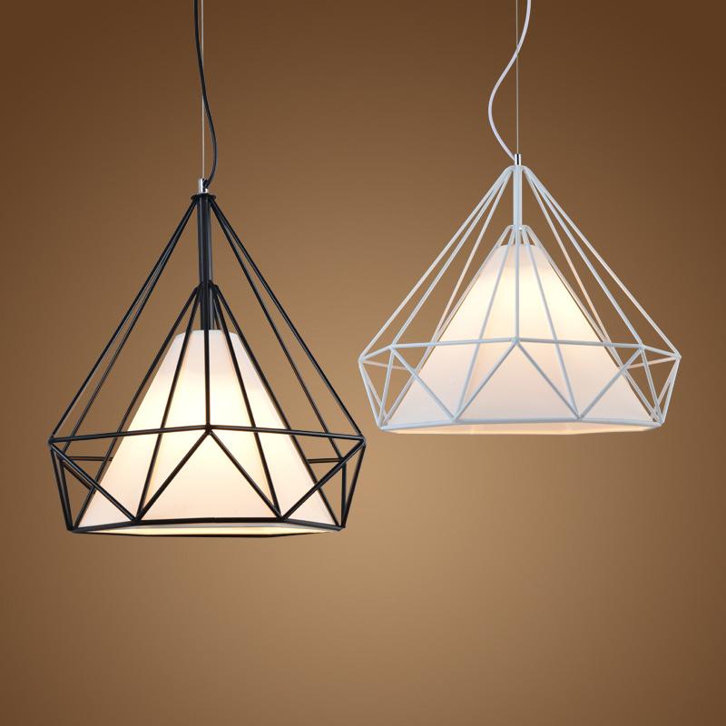 北欧个性创意loft复古吊灯具 现代简约酒吧卧室餐厅铁艺钻石吊灯