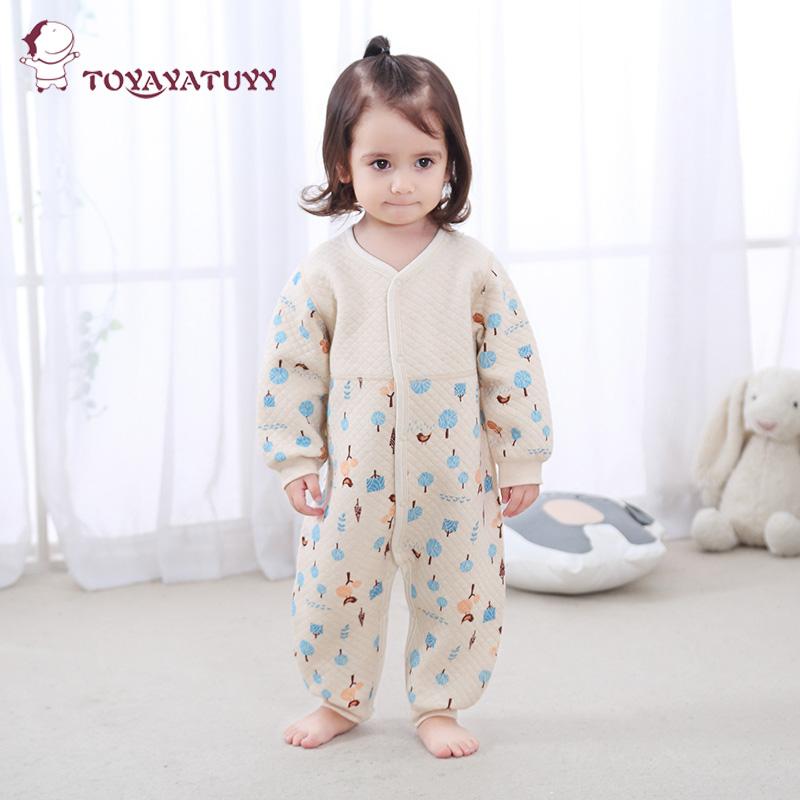 婴儿连体衣秋冬保暖薄棉加棉新生加厚哈衣男宝宝夹棉爬服0-3岁