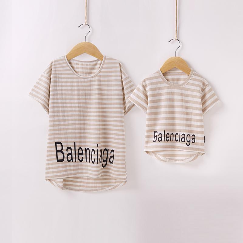 小米石 纯色新款亲子装夏母女装纯棉亲子T恤短袖夏天衣服宝宝潮款
