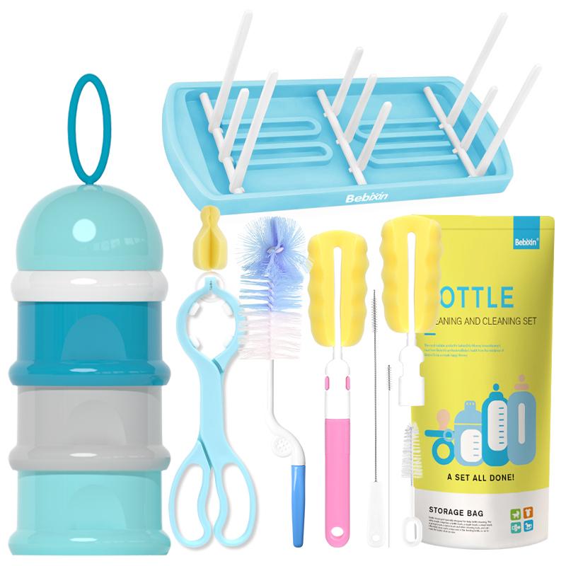 8件套奶瓶刷海绵洗奶瓶刷子奶嘴刷吸管刷子奶瓶夹奶瓶清洁刷套装