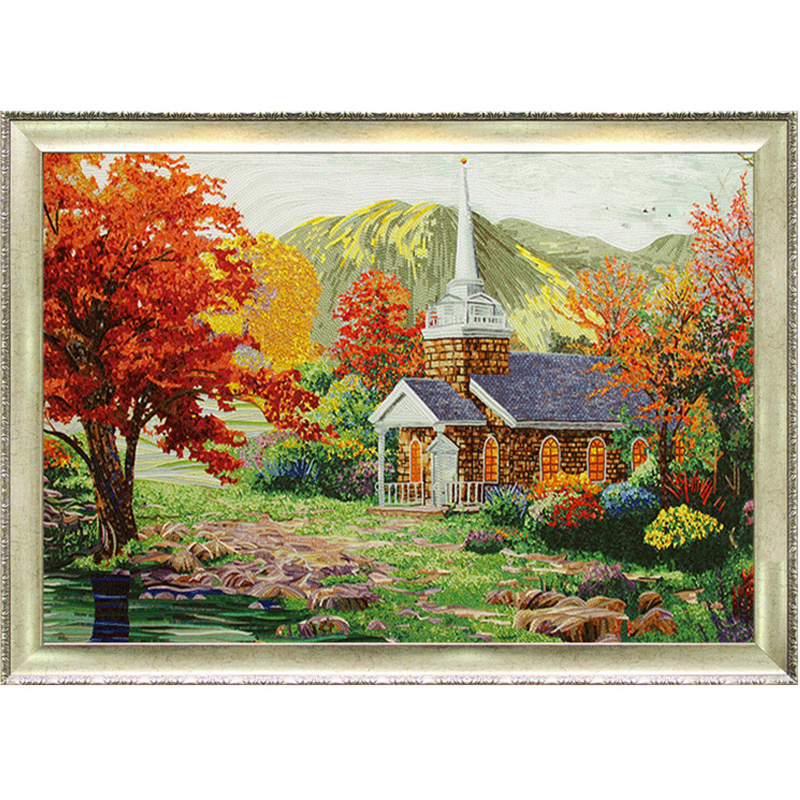瑪雅歐式鄉村風景水晶玻璃馬賽克拼圖客廳沙發背景墻瓷磚拼畫建材