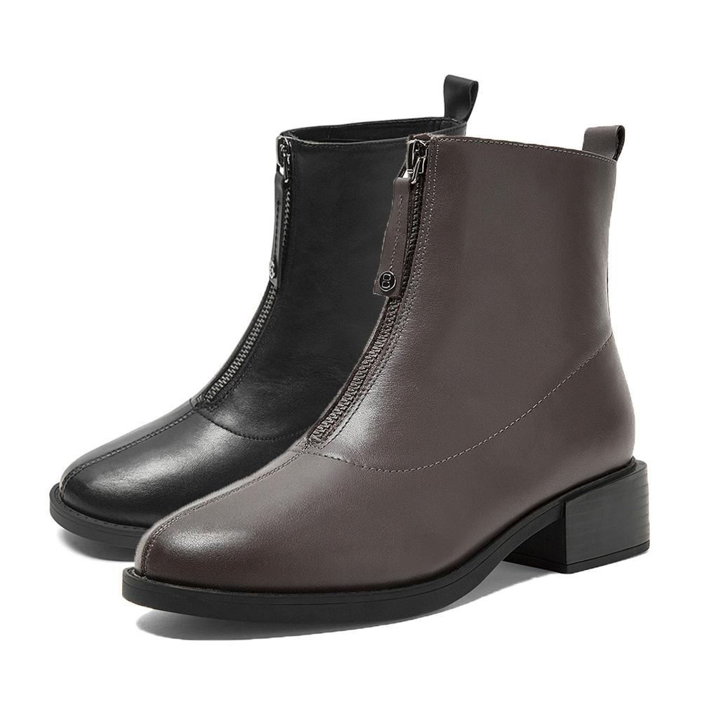 3FZ48DD9 冬新商场同款加绒保暖前拉链英伦短靴 2019 百丽牛皮短靴女